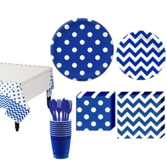 Royal Blue Polka Dot & Chevron Paper Tableware Kit for 16 Guests