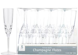CLEAR Crystal Premium Plastic Champagne Flutes 8ct