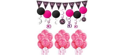 80th Birthday Pink Sparkling Celebration Decorating Kit
