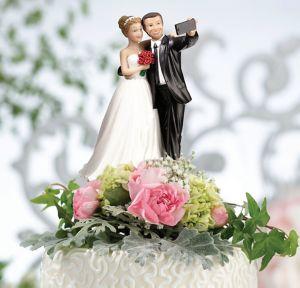 Bride & Groom Selfie Wedding Cake Topper
