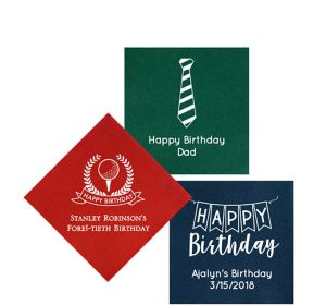 Personalized Birthday Premium Beverage Napkins