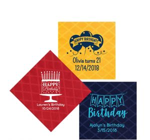 Personalized Birthday Diamonds Beverage Napkins