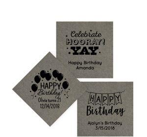Personalized Birthday Tweed Print Beverage Napkins