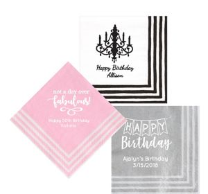 Personalized Birthday Stripe Border Lunch Napkins