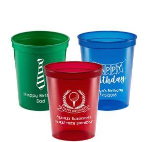 Personalized Birthday Translucent Plastic Stadium Cups 16oz