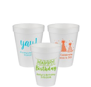 Personalized Birthday Foam Cups 12oz