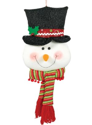 Snowman Head Plush 11in X 26in Party City