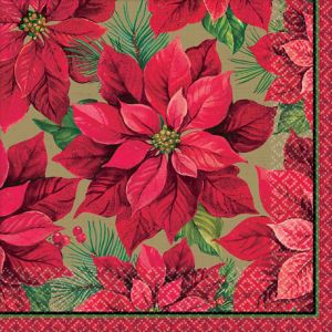 Holiday Poinsettia Dinner Napkins 16ct