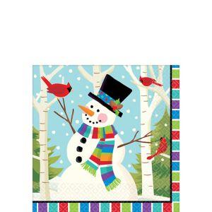 Colorful Smiling Snowman Beverage Napkins 125ct