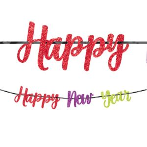 Glitter Colorful Happy New Year Letter Banner