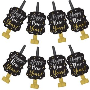 Black, Gold & Silver New Year's Confetti Blowouts 8ct