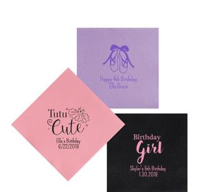 Personalized Girls Birthday Premium Beverage Napkins