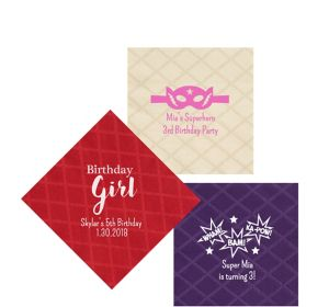 Personalized Girls Birthday Diamonds Beverage Napkins