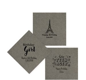 Personalized Girls Birthday Tweed Print Beverage Napkins