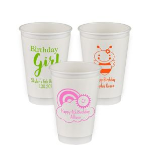 Personalized Girls Birthday Insulated Paper Cups 16oz