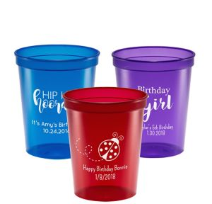 Personalized Girls Birthday Translucent Plastic Stadium Cups 16oz