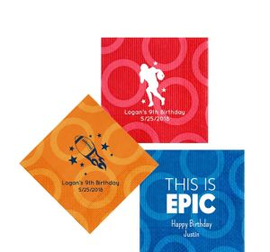 Personalized Boys Birthday Circles Beverage Napkins