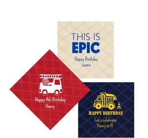 Personalized Boys Birthday Diamonds Beverage Napkins