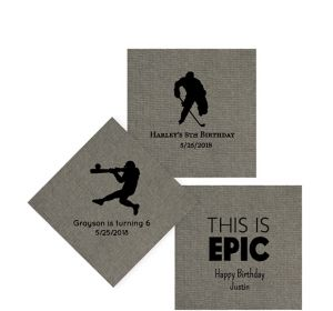 Personalized Boys Birthday Tweed Print Beverage Napkins