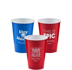 Personalized Boys Birthday Solid Color Plastic Party Cups 10oz