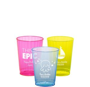 Personalized Boys Birthday Neon Hard Plastic Cups 10oz