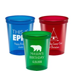 Personalized Boys Birthday Translucent Plastic Stadium Cups 16oz