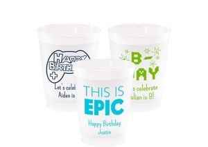 Personalized Boys Birthday Frosted Plastic Shatterproof Cups 10oz