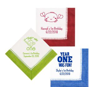 Personalized 1st Birthday Bordered Lunch Napkins