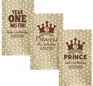 Personalized 1st Birthday Small Dots Guest Towels