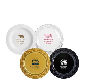 Personalized 1st Birthday Premium Plastic Dessert Plates