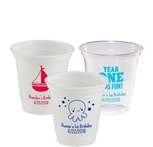 Personalized 1st Birthday Plastic Party Cups 12oz