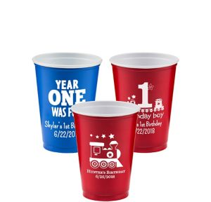 Personalized 1st Birthday Solid-Color Plastic Party Cups 10oz