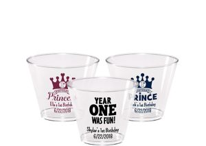Personalized 1st Birthday Hard Plastic Cups 9oz