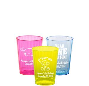 Personalized 1st Birthday Neon Hard Plastic Cups 10oz