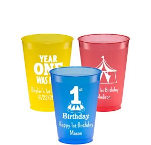Personalized 1st Birthday Plastic Shatterproof Cups 12oz