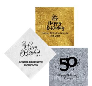 Personalized Milestone Birthday Embossed Damask Lunch Napkins