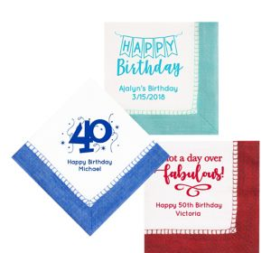 Personalized Milestone Birthday Bordered Lunch Napkins