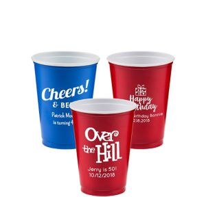 Personalized Milestone Birthday Solid-Color Plastic Party Cups 10oz