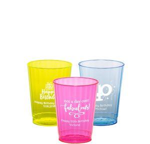 Personalized Milestone Birthday Neon Hard Plastic Cups 10oz