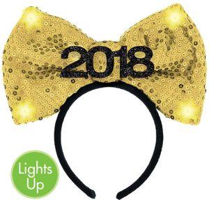 Light-Up Sequin Gold 2018 Bow Headband
