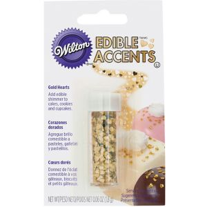 Wilton Metallic Gold Edible Accent Heart Sprinkles