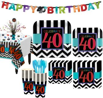 Celebrate 40th Birthday Party Kit for 16 Guests