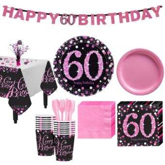 Pink Sparkling Celebration 60th Birthday Party Kit for 16 Guests