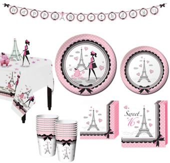 Pink Paris 16th Birthday Party Kit for 16 Guests