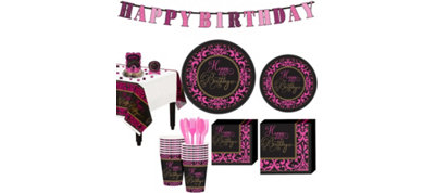 Fabulous Celebration Damask Birthday Party Kit for 18 Guests