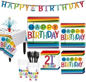Rainbow 21st Birthday Party Kit for 16 Guests