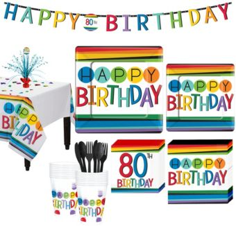 Rainbow 80th Birthday Party Kit for 16 Guests