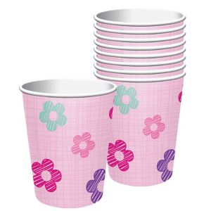 Pink Flower Cups 8ct