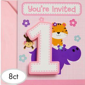 Pink One is Fun 1st Birthday Invitations 8ct
