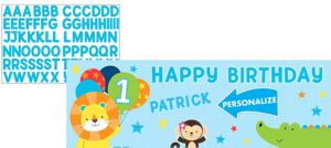 Giant Blue One is Fun 1st Birthday Banner Kit